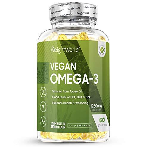 Omega 3 Vegano Aceite de Algas Marinas 1250mg - 612mg de EPA DHA y DPA, Suplemento Para Salud de Cerebro, Hígado y Corazón, Controla Colesterol, Mejora Presión Arterial, 60 Cápsulas