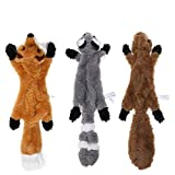 Stuffingless Dog Toy, Stuffing Free Dog Chew Toys Set with Squirrel Raccoon and Fox Squeaky Plush Dog Toys for Small and Medium Dogs - 3 Packs, 46cm