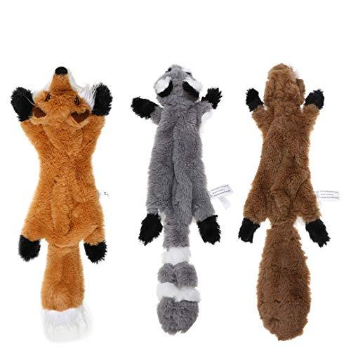 PDTO Juguete para perros sin relleno, juego de juguetes para masticar para perros pequeños y medianos con ardilla mapache y zorro, juguetes para perros pequeños y medianos – 3 paquetes, 46 cm 🔥
