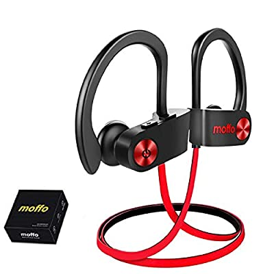 Moffo Wireless Headphones, Wireless Sport HD Stereo IPX5 Sweatproof in Ear Earbuds Waterproof Headset with Built-in Mic for Gym Running Workout Home Exercise 8 Hours Battery by Moffo