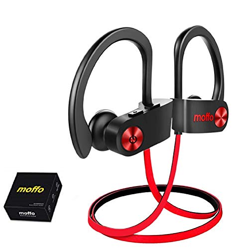 Moffo Wireless Headphones, Wireless Sport HD Stereo IPX5 Sweatproof in Ear Earbuds Waterproof Headset with Built-in Mic for Gym Running Workout Home Exercise 8 Hours Battery