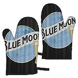 ADONINELP 2pc Gants Micro-Ondes,Bière Blue Moon,Gants Résistants à la Chaleur pour Barbecue Cuisson Cuisson Grillades Barbecue Cuisine Utilisation Unisexe