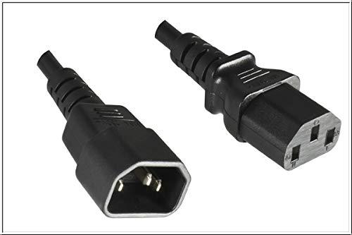 DINIC Kaltgerätekabel C13 Stecker auf C14 Buchse, Kaltgeräte-Verlängerung mit VDE (10,00m, schwarz)