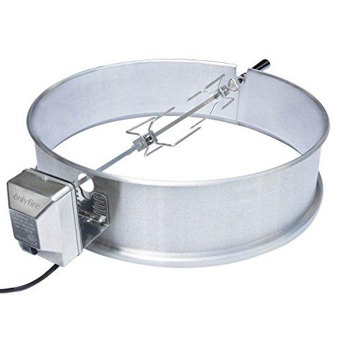 onlyfire BRK-6025 Set de asador Ring para Barbacoa para 57 cm carbón Vegetal Barbacoa, Weber y Muchos Otros Modelos, Asador, Tenedor, Motor de Parrilla (Acero Inoxidable)