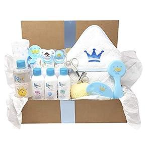Royal Bath, MabyBox de Mababy, Cesta de regalo original para recien nacido ideal como cesta de baño bebé (Azul)