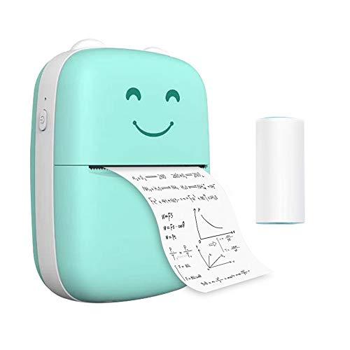 Nishore Mini impressora térmica portátil Impressora sem fio BT de 203dpi com 1 rolo de papel térmico compatível com Android para impressão de erro Foto Memo Journal List Recibo Etiqueta Etiqueta