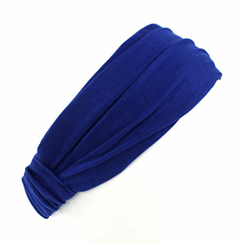 niumanery Fashion Ladies Cotton Hairband Headband Wrap Neck Solid Color Head Scarf 3 in 1 Blue