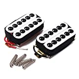 2 Electric Guitar Double Coil Humbucker Pickup Bridge Neck Set Hexagonal (White)