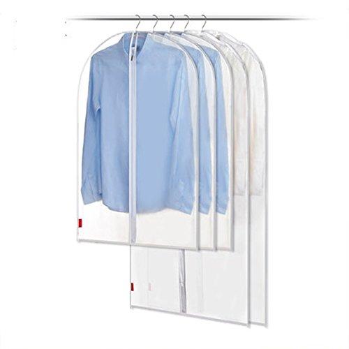 Yookay Lot de 5 housses de protection transparentes zippées pour costumes/manteaux 100 cm/60cm