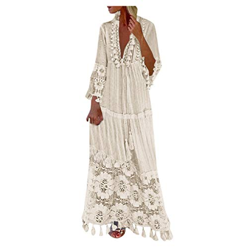 Bohemian Dress for Women V Neck Long Sleeve Tassel Plus Size Long Lace Dress Vacation Beach Ethnic Style Maxi Dresses Beige