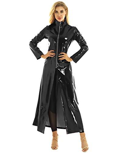 inlzdz Unisex PVC Leder Matrix Mantel Sexy Festlich Lange Jacke Halloween Cosplay Kostüm für Erwachsene Schwarz Medium