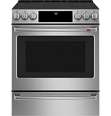 """GE CAFE CES700P2MS1 30"""" Matte Collection Slide-In Front Convection Range with Warming Drawer WiFi Connect 5.7 cu. ft. Oven Capacity LED Control Panel True European Convection in Stainless Steel"""