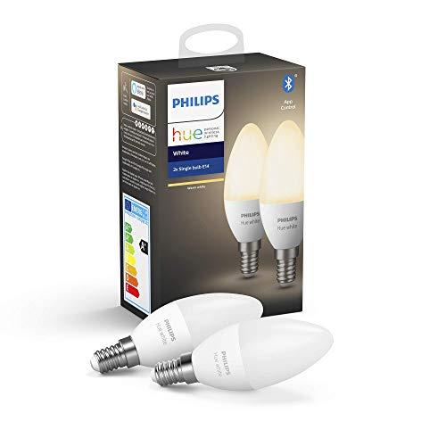 Philips Hue White E14 LED Lampe Doppelpack, dimmbar, warmweißes Licht, steuerbar via App, kompatibel mit Amazon Alexa (Echo, Echo Dot)