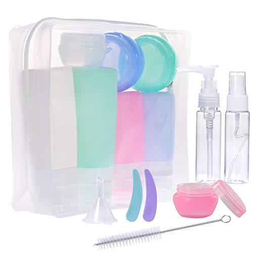 Gospire 16 Pack Silikon Reiseflaschen Set für Handgepäck Kosmetika für Flugzeug, mit Kulturbeutel Auslaufsicher Reisebehälter für Hautpflege, Lotion, Shampoo, Spülung, Duschgel, Körperpflege
