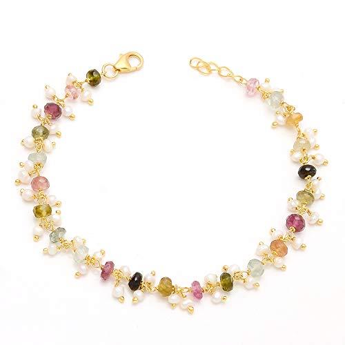 Tourmaline Bracelet, Pearl Bracelet, 925 Sterling Silver Bracelet, Handmade Bracelet, Unique Bracelet, Multi Tourmaline Bracelet