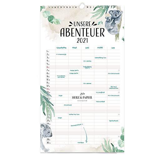 """HERZ & PAPIER Familienplaner 2021 """"Unsere Abenteuer"""" • Weißer Wandkalender 2021 mit 5 Spalten im bunten Aquarell Design"""