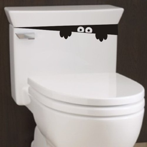 2pcs Monster Toilet Stickers Wall Art Decal Removable