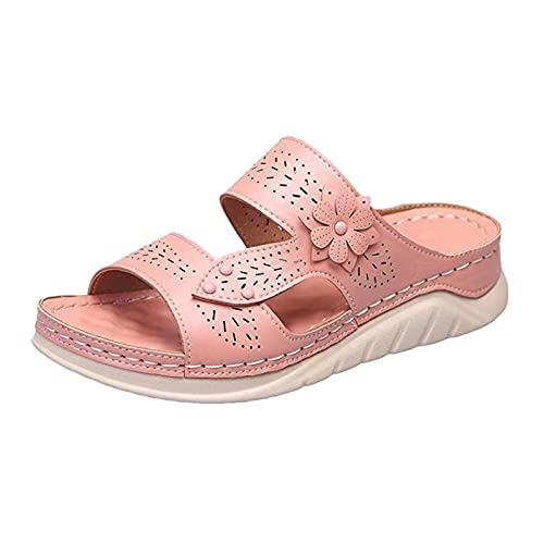 Fullwei Sandals for Women Women Boho Orthopedic Sandals Ladies Supportive Embroidered Slippers Hollow Out Slip On Slide Sport Walking Beach Water Sandals Shoe (Pink-2  8.5)