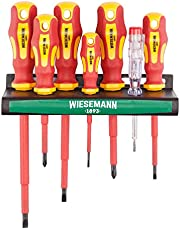 VDE Screwdriver Set, 7 Pieces incl. Voltage Tester with Holder I TÜV - GS Marking I from Wiesemann I 81123