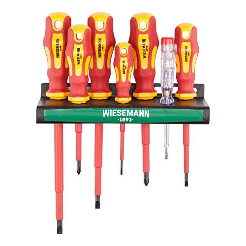 Juego de 7 destornilladores aislados y buscapolos con soporte de WIESEMANN 1893 I Aprobado por la VDE | Destronilladores para electricistas I Planos y PH I 81123