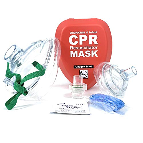 WNL Products Adult/Child & Infant Pocket CPR Rescue Resuscitation Mask Kit with One Way Valve and Belt Clip in Hard Red Case (1)