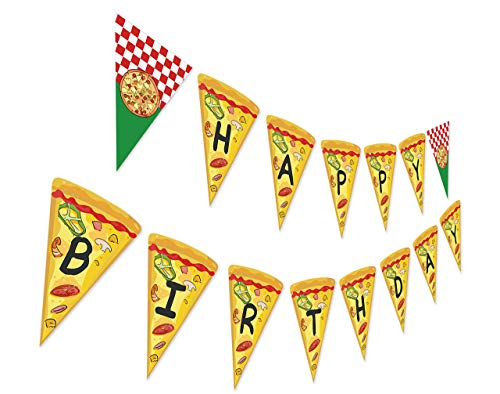 Pizza Birthday Banner, Pizza Theme Party Sign, Pizza Slice Decoration, Food Bday Bunting