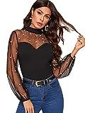 SweatyRocks Women's Long Sleeve Pearl Beaded Contrast Sheer Mesh Slim Fit T Shirt Tops Black #3 M