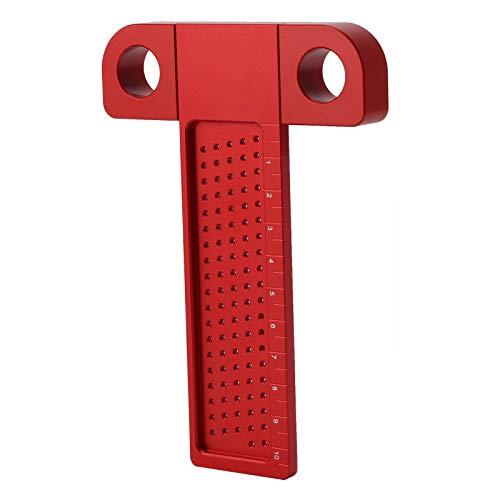 Yeelur Calibre de trazado de posicionamiento de Orificios, 0-100 MM, Regla Tipo T, trazador de carpintería, para marcar la posición, Carpintero de carpintería