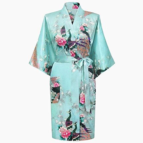 Handaxian Blauer Satin Plus Kleidungsbademantel-Brautjungfernhochzeitskleid der großen Damenpyjamas Frauen