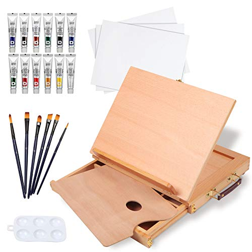 Falling in Art Beechwood Tabletop Easel Set with 12 Tubes Acrylic Paints, Canvas Panels, Brushes,...