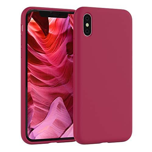 EAZY CASE Premium Silikon Handyhülle kompatibel mit Apple iPhone X/XS, Slimcover mit Kameraschutz & Innenfutter, Silikonhülle, Schutzhülle, Bumper, Handy Case, Hülle, Softcase, Beere