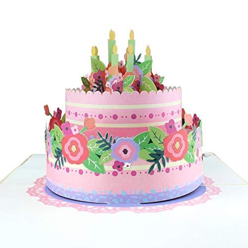 3D Geburtstagskarte [NEU!] – Happy Birthday Torte mit Kerzen & Blumen – XXL Geschenkkarte zum Geburtstag, handgefertigte Klappkarte mit Umschlag