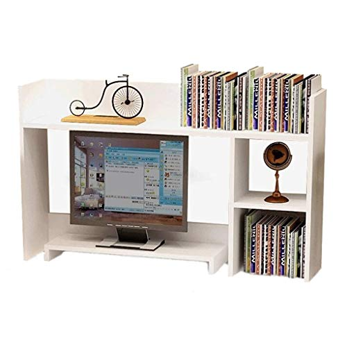 xiaokeai Bookcase shelf Desktop Shelf 3 Tier Desktop Organizer with Monitor Stand Raiser Independent Design Space Saving Storage Shelf for Home Office Bookshelf Display (Color : White)