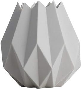 Style Nordique Vase en Céramique Origami Ornements Décorations De Meubles 5x6 Pouce Salon Créatif Fleur Fleur (Color : White)