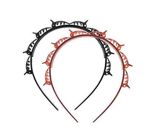 2 Pcs Doppel-Pony-Haarspangen, geflochtenes Haarband, Haar-Styling-Haarclip, magische Haarverdrehung, Zopfwerkzeug,Styling-Clip, Stick Party Tie Stirnband für weibliche Mädchen (schwarz + braun)