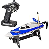 Top Race Barco de Control Remoto, Adultos y niños, Barco RC para Piscinas y Lagos, Juguete acuático (TR-800 Azul)