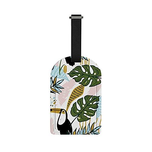 Orediy - Etichette da viaggio per bagagli, con nome e carta d'identità, foglie e tucano, in pelle PU, 1 pezzo