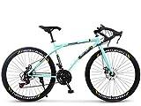 ZTYD Bicicletta della Strada, 24 velocità 26 Bici Pollici, Doppio Disco Freno, Acciaio al Carbonio Telaio, Strada Biciclette da Corsa, per Uomo e Donna per Soli Adulti,F