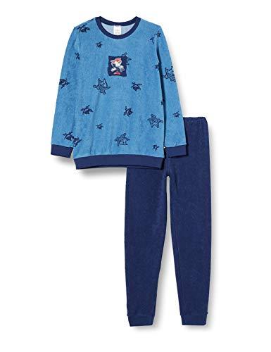 Schiesser Jungen Frottee Capt´n Sharky Kn Schlafanzug Lang Pyjamaset, blau, 128