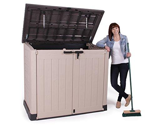 Keter Store It Out Max Gartenbox Mülltonnenbox Gerätebox Schuppen für 2 x 240 Liter Mülltonnen (Beige Braun) - 9