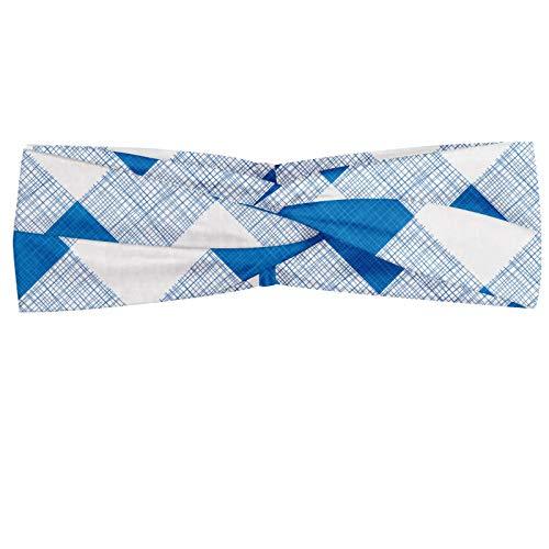 ABAKUHAUS Blauw en wit Hoofdband, Geblokte Plaid Grid, Elastische en Zachte Bandana voor Dames, voor Sport en Dagelijks Gebruik, Azure Blue White