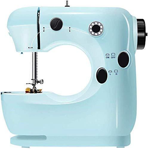 Máquina de coser portátil de SEESEE.U, con bordado de bordado, máquina de coser eléctrica portátil, máquina de coser rápida, herramienta de costura doméstica con pedal, ligera, azul