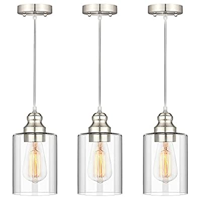 Industrial Pendant Lighting, Adjustable Hanging Light Fixtures, Clear Glass Shade Pendant Light, Vintage Farmhouse Mini Hanging Ceiling Lamp for Kitchen Living Room Bedroom Hallway, E26 Base, 3-Pack