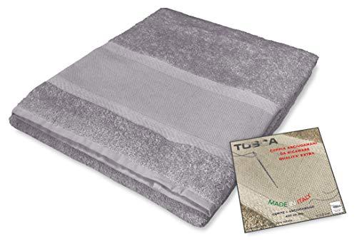 Tex Family - Juego de toallas de rizo Tosca  tela Aida para bordar punto de cruz 1 + 1 cara y invitados (gris)