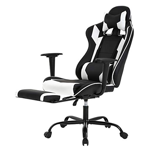 Massage Office Chair Ergonomic Desk Chair Recline Computer Chair with Lumbar Support Headrest Armrest Foorest Executive High Back PU Leather Chair for Women Adults, Black