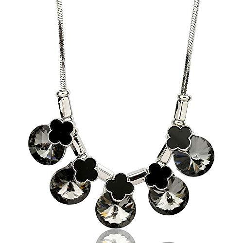 Europese en Amerikaanse mode klavertje vier nieuwe kristallen sleutelbeen ketting korte pullover ketting