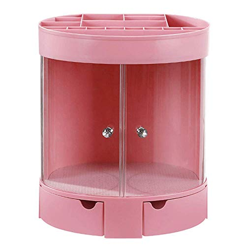 Organisateur de maquillage rond simple, support de bricolage multicouche Boîte de rangement cosmétique Tiroir de grande capacité pour commode Chambre et salle de bains (Pink)