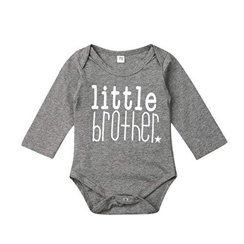 Little Brother Big Brother Kleiner Bruder Großer Bruder Outfits Langärmliges Strampler-T-Shirt mit Buchstaben Muster T-Shirts Baby Langarm Strampler (ittle Brother, 0-3M)