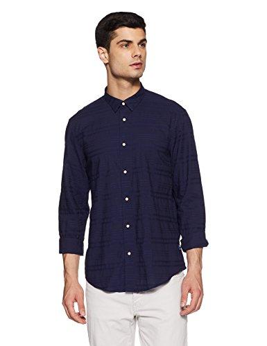 blackberrys Men's Solid Slim Fit Casual Shirt (USBU2375N2NS18FL42_Indigo)
