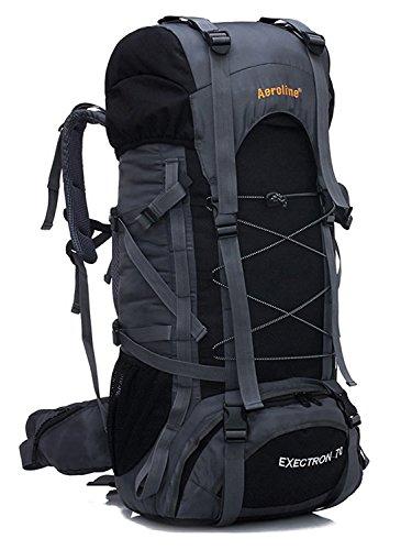 Minetom 70L Unisex Erwachsene Rucksack Camping Wandern Reisen Trekkingrucksäcke Wanderrucksäcke Taktischer Nylon Rainproof (Schwarz)